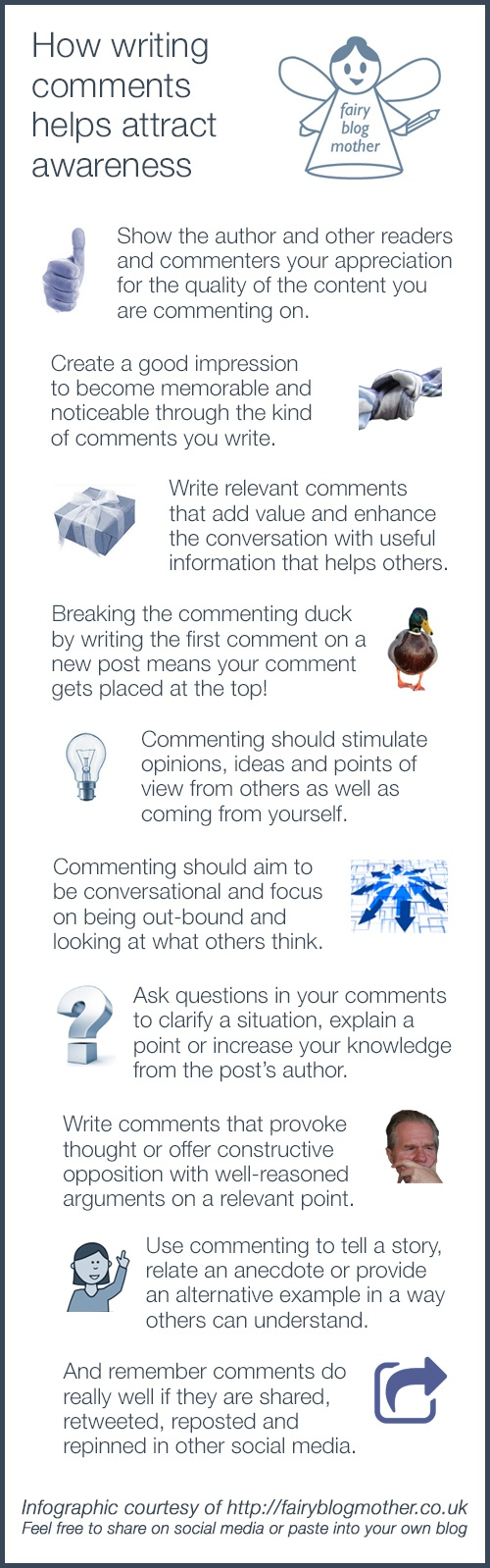 How writing comments helps attract awareness
