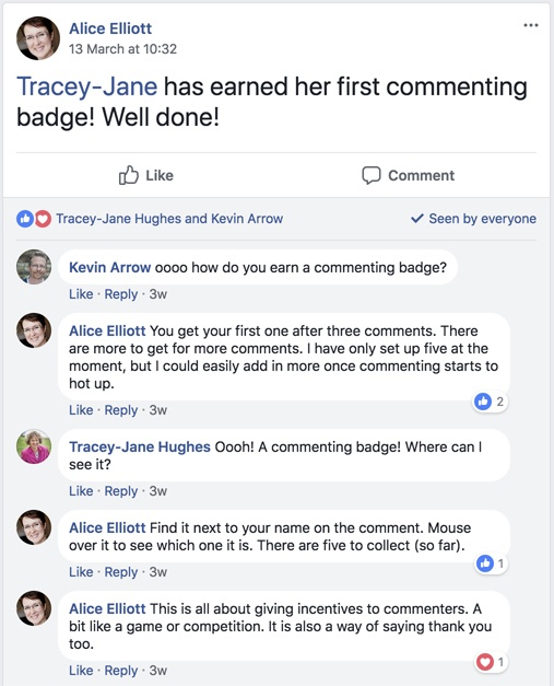 the first commenting badge