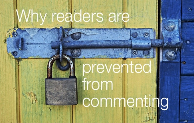 why readers are prevented from commenting