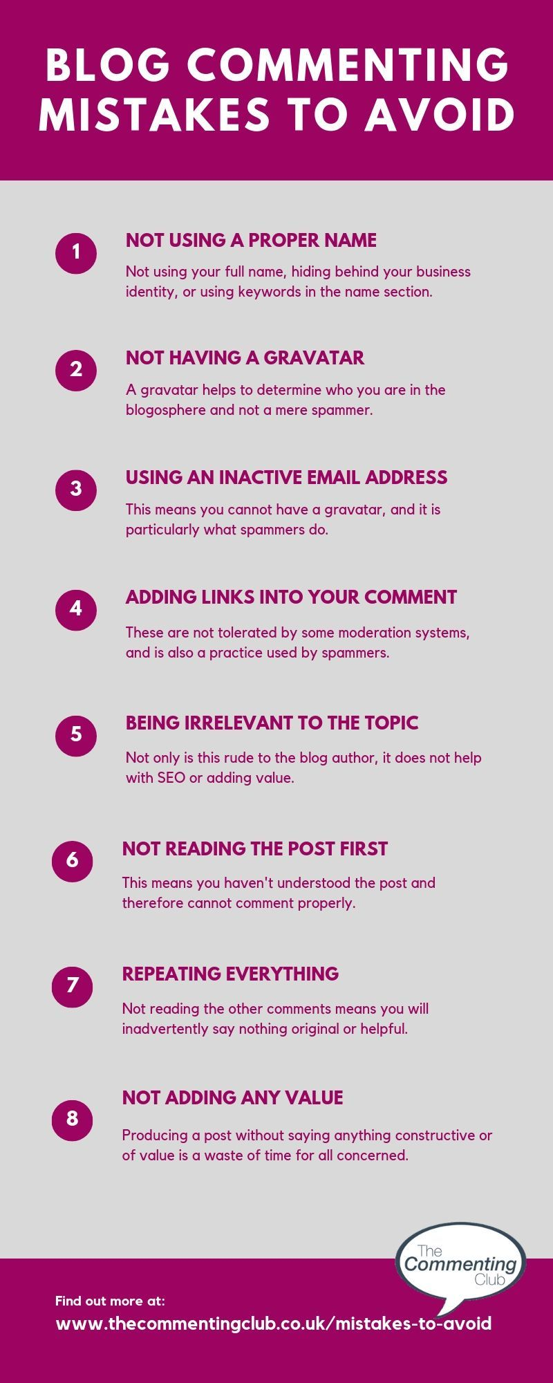 blog commenting mistakes to avoid