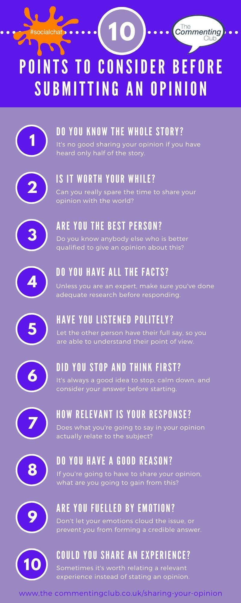 10 actions to take before sharing your opinion