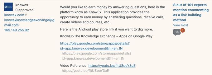 Knowex spam